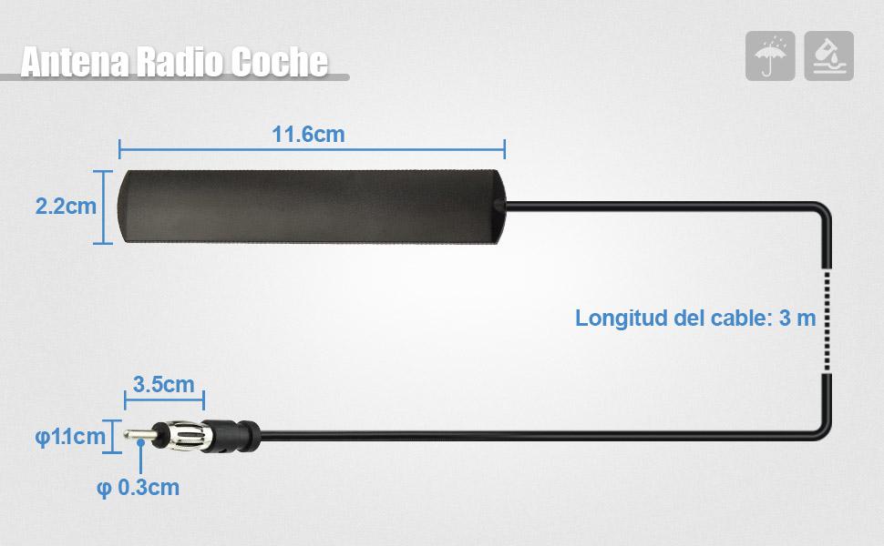 Eightwood Antena para Radio de Coche estéreo Adaptador DIN 41585 a Antena aérea ISO de Parabrisas de camión FM con Cable de 3 m para Antena Am/FM ...