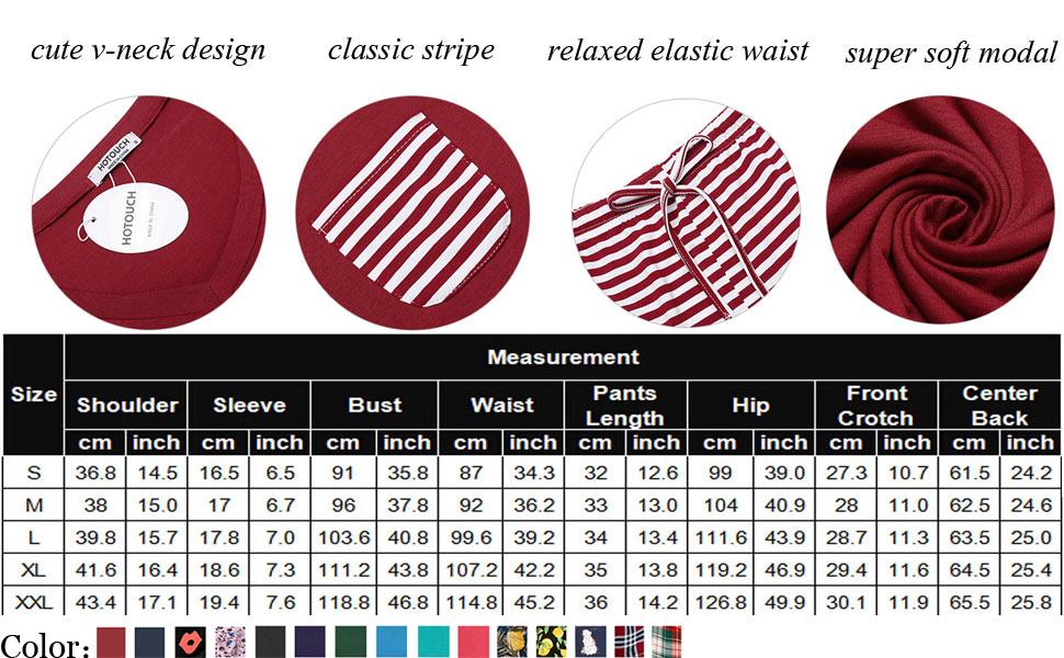 pajamas set Modal Soft lightweight stretchy comfortable cute v neck stripe relaxed Elastic waist