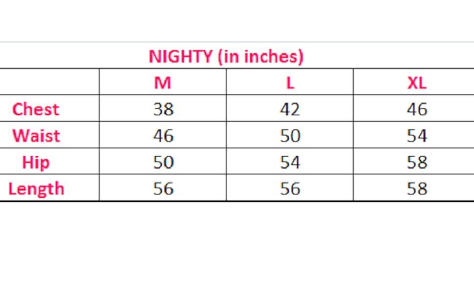 Size chart, nighty, piu