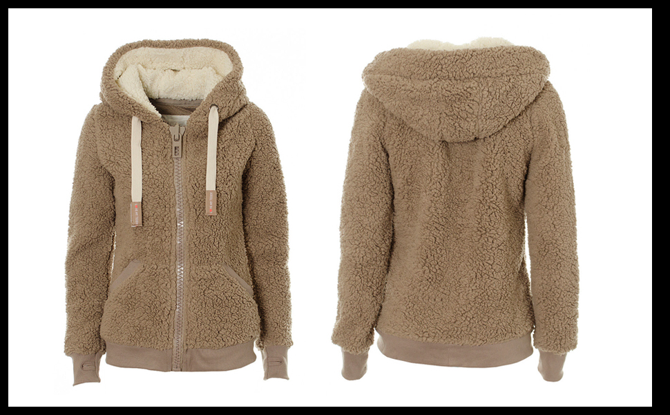 Casual Winter Warm Sherpa Soft Teddy Coat Zip Up Hooded Sweatshirt Jacket Coat
