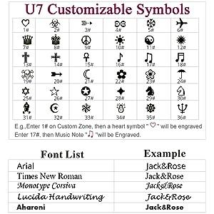 Custom text and symbols