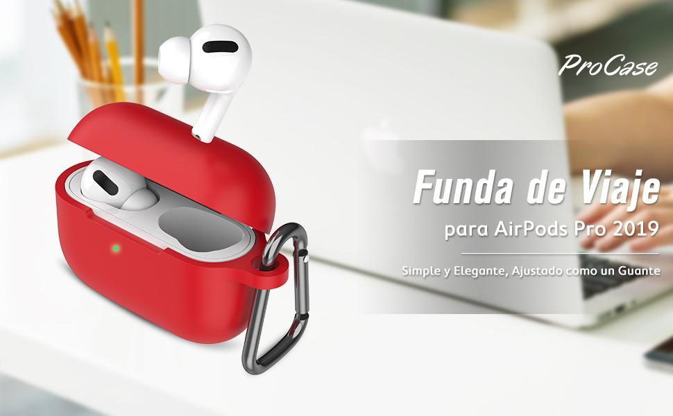 ProCase Funda Silicona para AirPods Pro 2019, Estuche Blando Antigolpes, Carcasa Suave de Viaje con Llavero para 3.ª Generación AirPods Pro -Rojo: Amazon.es: Electrónica
