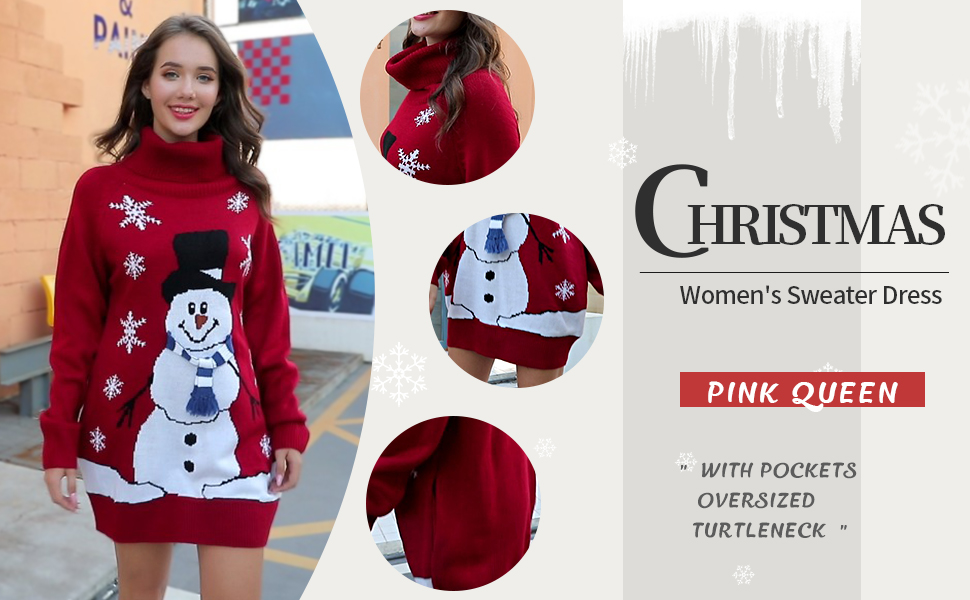 Pink Queen Women's Oversized Turtleneck Christmas Xmas Wool Pullover Sweater Dress with Pockets