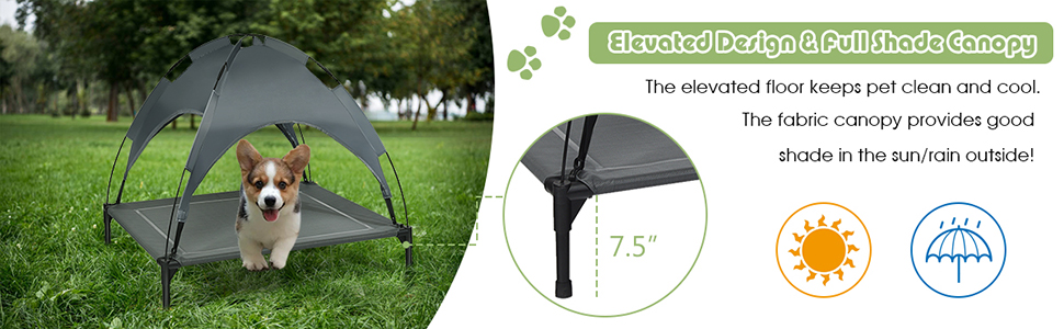 Portable Raised Pet Cot Cooling Dog Bed