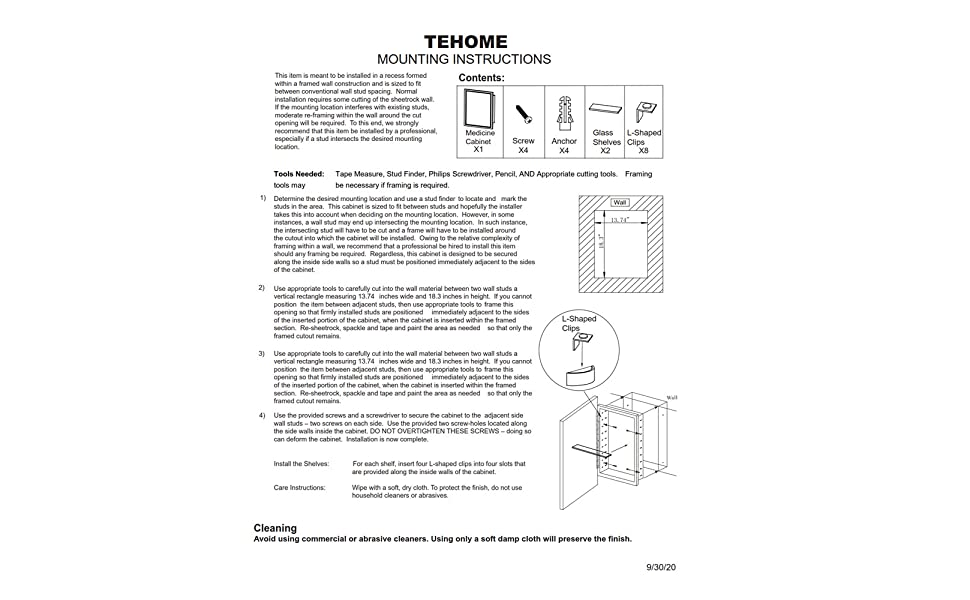 TEHOME mounting instructions