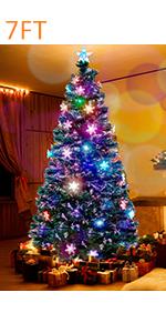 7 ft Pre-Lit Optical Fiber Christmas Artificial Tree