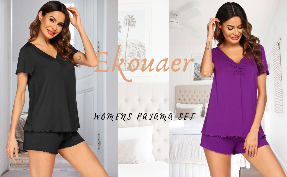Ekouaer Womens Pajama Set Shotr Sleeve Sleepwear Cotton Nightwear Soft Pjs Lounge Sets with Pockets