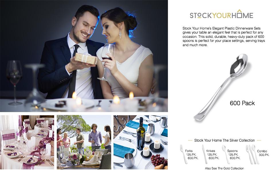 Silver Plastic Spoons 600 Pack Disposable Cutlery, Heavy Duty Flatware, Plastic Silverware Set