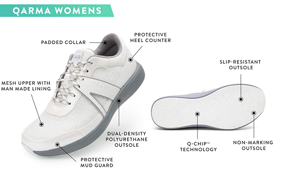TRAQ by Alegria QARMA style smart shoe for Women with fitness tracking app and pedometer.