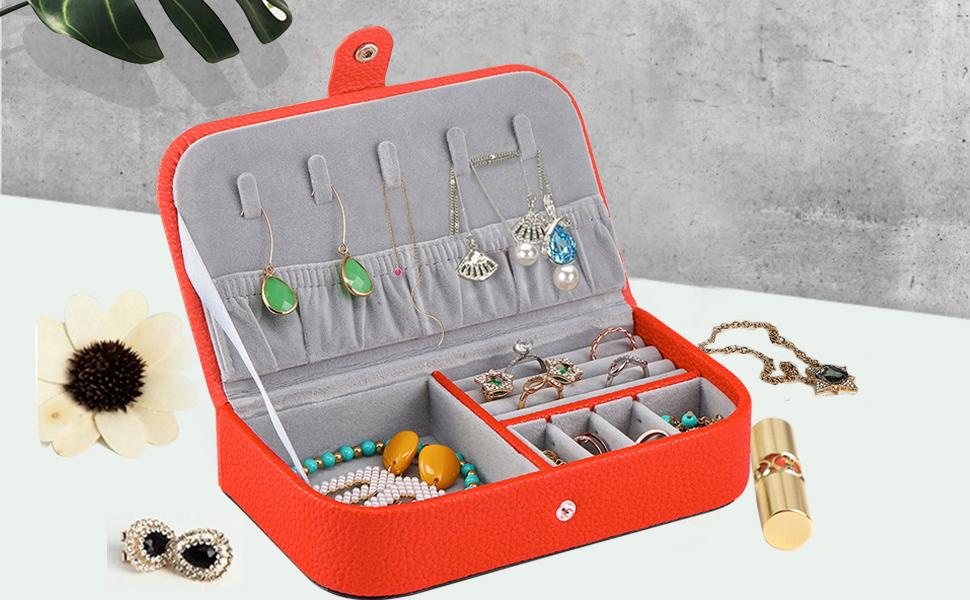Orange Jewelry Travel Case