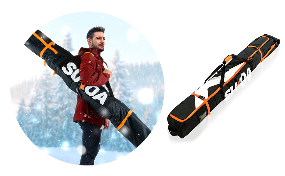 Ski Bag for Air Travel - Single Ski Carry Bags for Cross Country, Downhill, Ski Clothes, Snow Gear,