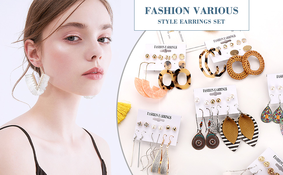 47 Pairs Boho Statement Tassel Rattan Leather Earrings Ethnic Fashion Butterfly Stud Earrings Set