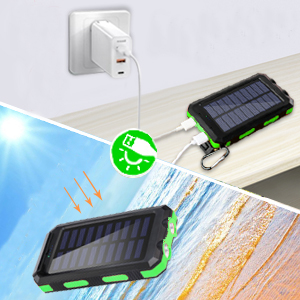 Solar power bank for cellphones has two charging methods for your convenience