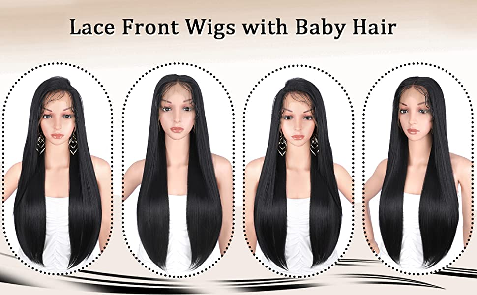 13x6 Deep Free Parting Lace Front Wigs with Baby Hairs for Women Long Black Silky Smooth Straight