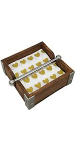 Vintage Wood Napkin Holder Weighted Stainless Steel Center Bar