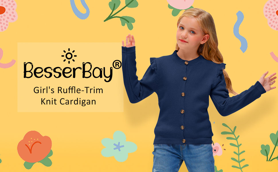 BesserBay Girls Ruffle-Trim Knit Cardigan Button Down Outwear Sweater 3-12 Years