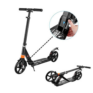Details about  /Caroma Folding Kick Scooter Big Wheels 3 Adjustable Height Adult Dual Suspension
