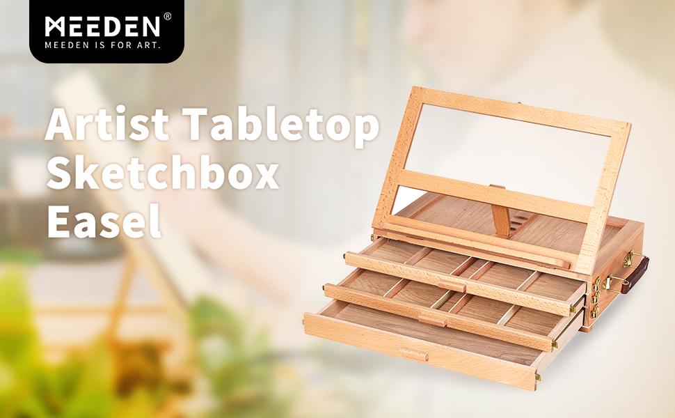 Premium Solid Beechwood Adjustable Portable Wood Artist Desktop Easel  latch to keep