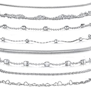 Amberta Argento sterling 925 - Bracciale per donna - Catena per cavi - Maglie lisce / fantasia