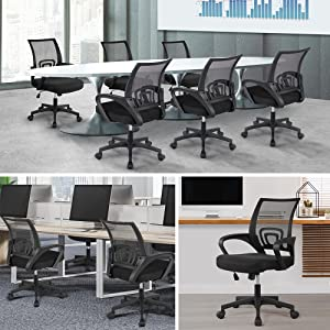 1 - Yaheetech Office Chair Mid Back Swivel Lumbar Support Desk Chair, Height Adjustable Computer Ergonomic Mesh Chair With Armrest Black, 2-Pack