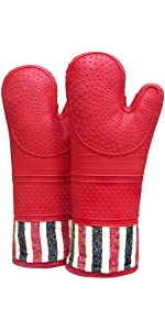 oven mitts gloves silicone printing pair heatresistant 550 food degree