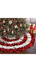 48 Inch Red Black Burlap Ruffled Xmas Christmas Tree Skirt