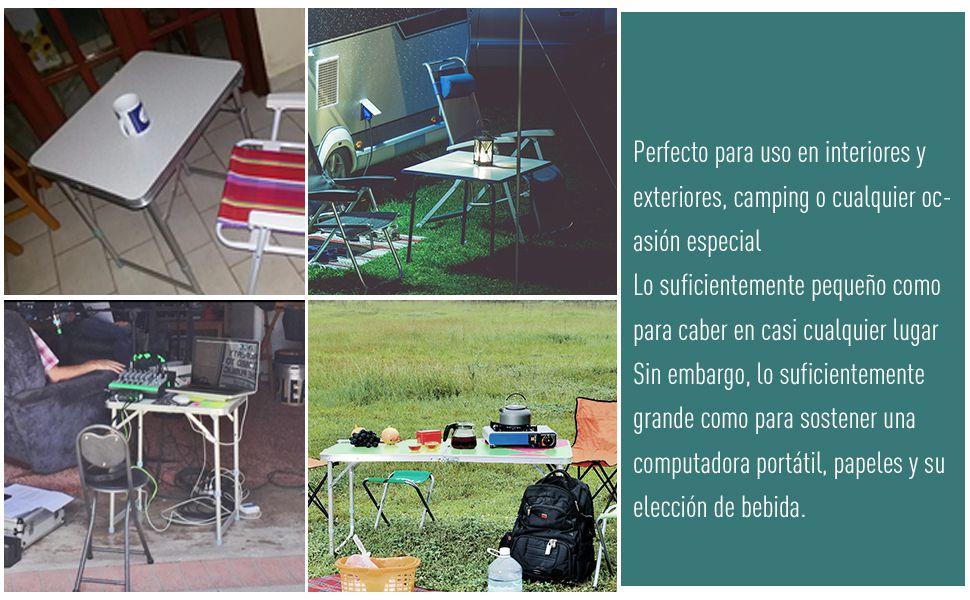 Mesa de Camping Plegable y Convertible con Altura Regulable