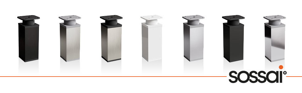sossai® Patas para muebles MFV1 | 4 piezas | altura regulable | Diseño: Alu | Altura: 80 mm (+20mm) | Perfil cuadrado: 40 x 40 mm |Tornillos incluidos