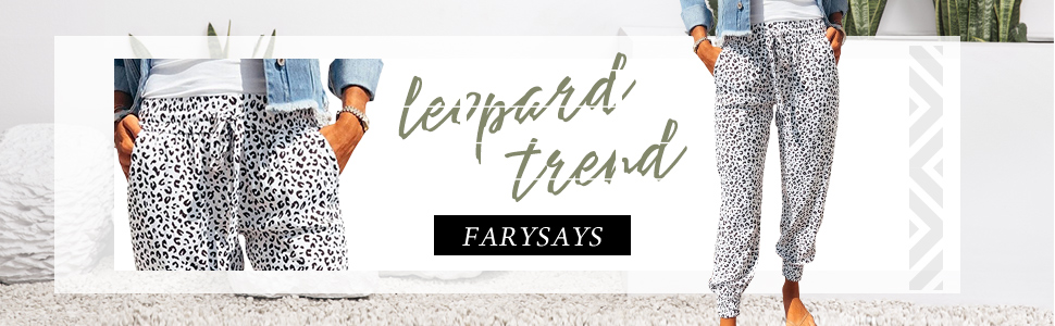 FARYSAYS Women Leopard Print Front Drawstring Sport Pants Casual Sweatpants