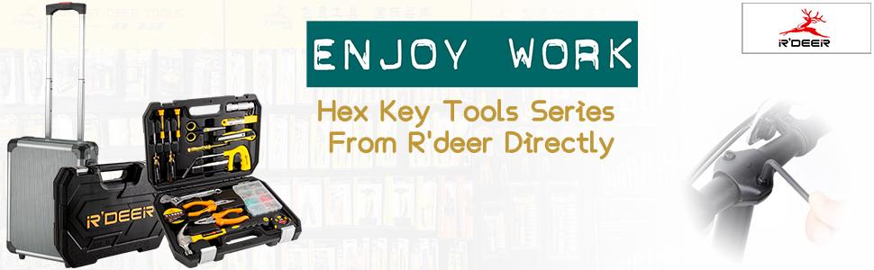 R'deer Hex Key Wrench Allen Screwdriver Toolbox Long Nose Combination Pliers Scissors Hammer Tape
