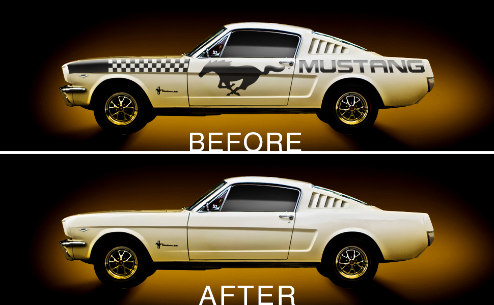 ford-mustang-with-chequered-racing-decal-and-horse-sticker-before-and-after-vinyl-removal
