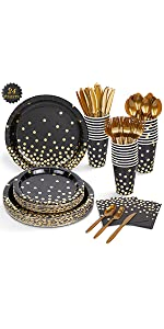 Black and Gold Party Supplies Extra Large