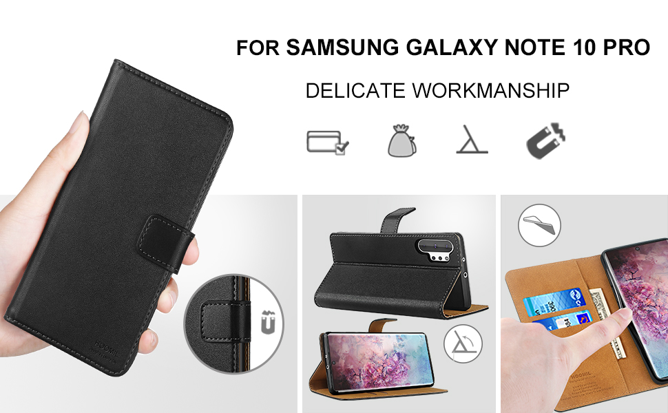 HOOMIL Case Compatible with Samsung Galaxy Note 10 Pro, Premium PU-Leather Flip Wallet Phone Case for Samsung Galaxy Note 10 Pro Cover (Black)