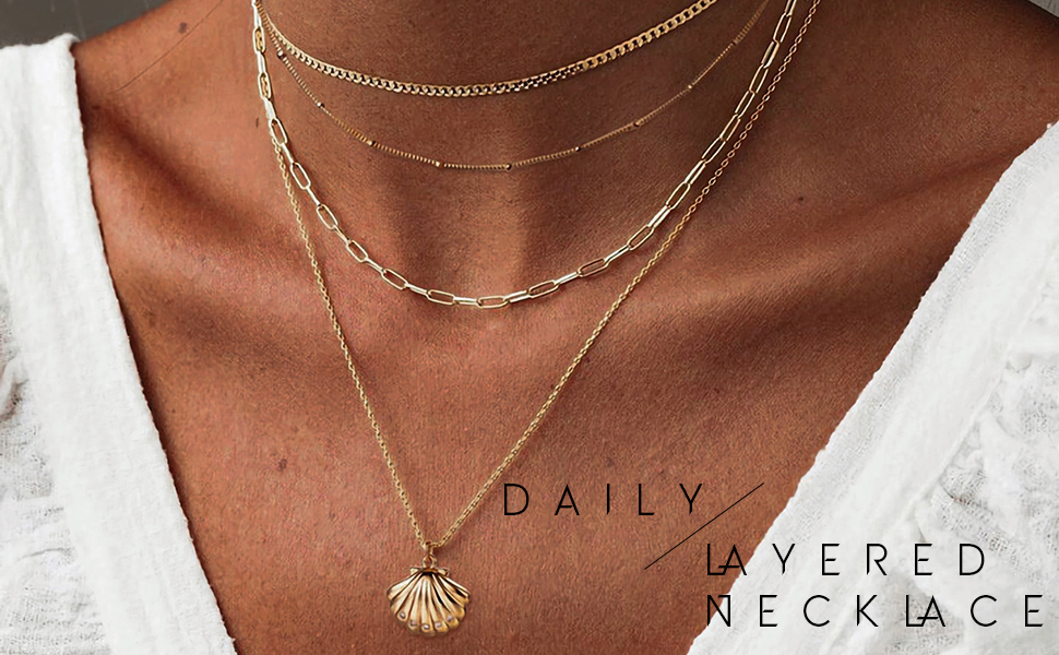 Rose Gold Plated Shell Necklace Dainty Layering Necklaces Necklaces For Women