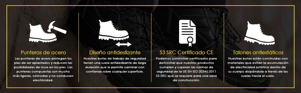 Los zapatos de trabajo de seguridad con punteras de acero protegen los pies del dolor