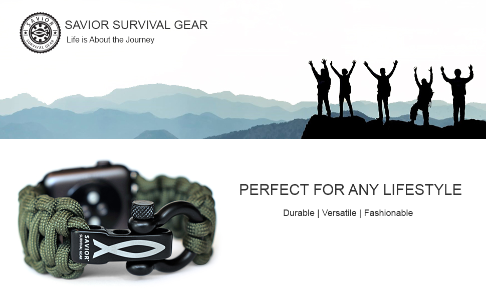 Paracord Apple Compatible Watch Band 550 military fish savior survival gear christian outdoors