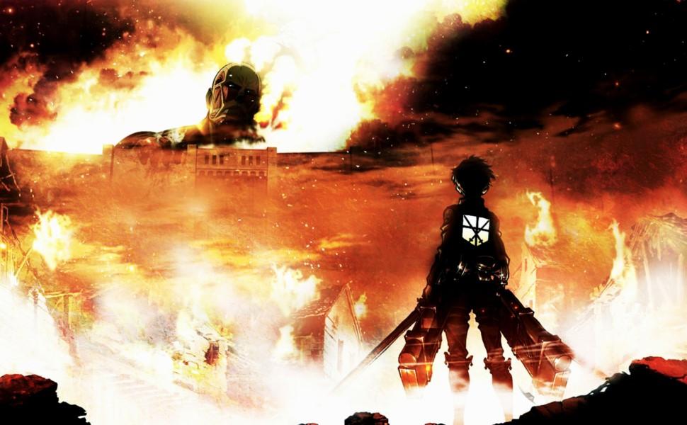Anime Battle Giant Action Fighting Cartoon Monster Wall Manga Fantasy Horror Rose Sheena Eren Titan