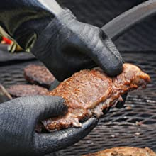 Handle your BBQ right on the smoker or grill with the textured oil resistant coating
