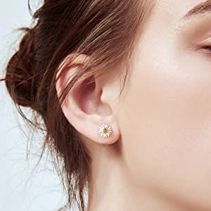 daisy flower necklace earring bangle ring dainty minimalist jewelry sets for women girls statement