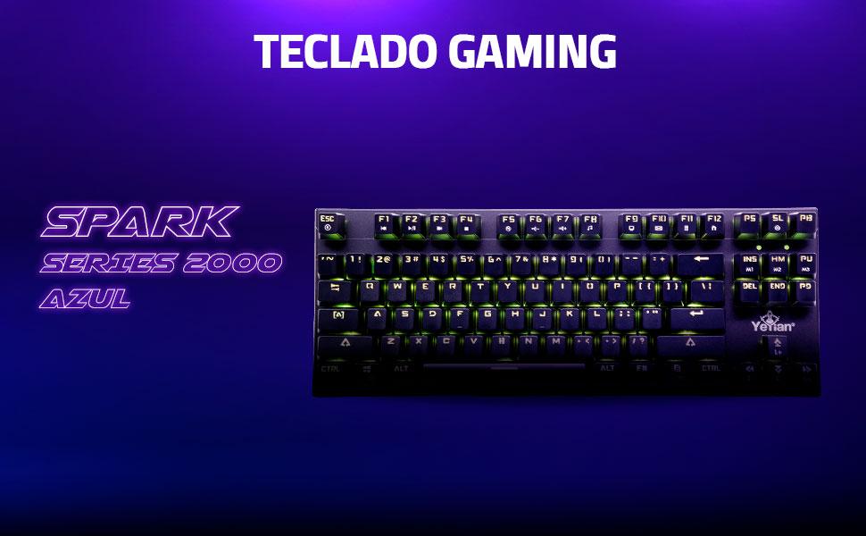 YEYIAN Teclado mecánico Gaming, Spark 2000, 88 Teclas, Switch Rojo, QUERTY, RGB retroiluminado, con Cable, Negro, (YAT1804)