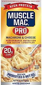Muscle Mac PRO box ProBiotics Mac'n Cheese High Protein Vegetable Proteins Snack Meal Mac'n Cheese