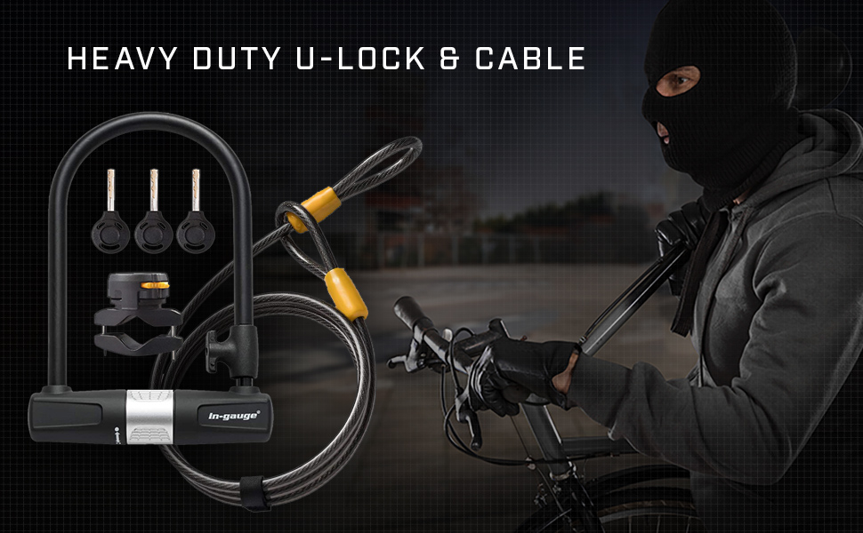 In-gauge bike u lock with cable and mounting bracket