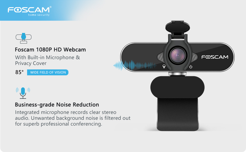 Foscam 1080P HD USB Webcam with microphone