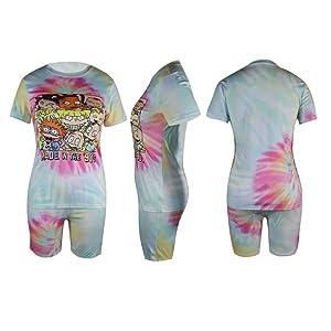 Women Plus Size 2 Piece Outfit Tie Dye  Short Sleeve T-Shirts Shorts Set
