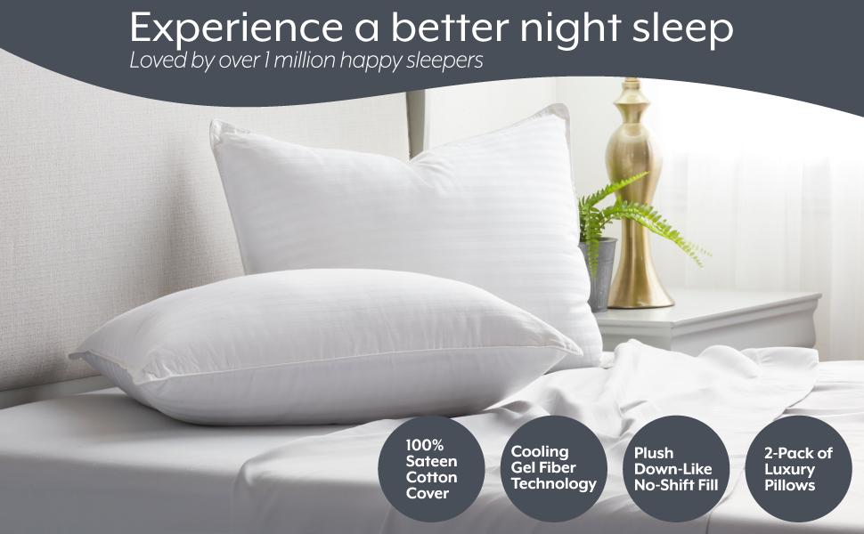 Beckham Hotel Collection Gel Pillow 2-Pack - Luxury Plush Gel Pillow New