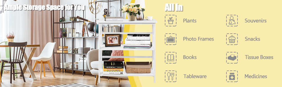 3-Tier Bookcase and Bookshelf