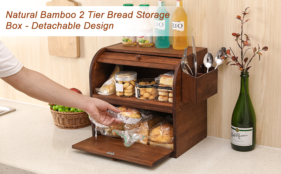 bread box bamboo cabinet wooden bread bin storage container organizer for kitchen counter large