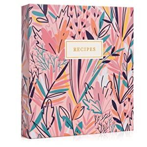 Recipe Binder Floral Exotic Sleeves Cards Dividers Entrees Desserts Appetizers Gold Trim Navy Blue