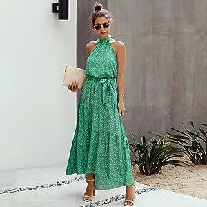 Minipeach Women's Halter Neck Floral Print Polka Dot Solid Color Long Beach Maxi Dress Sundress