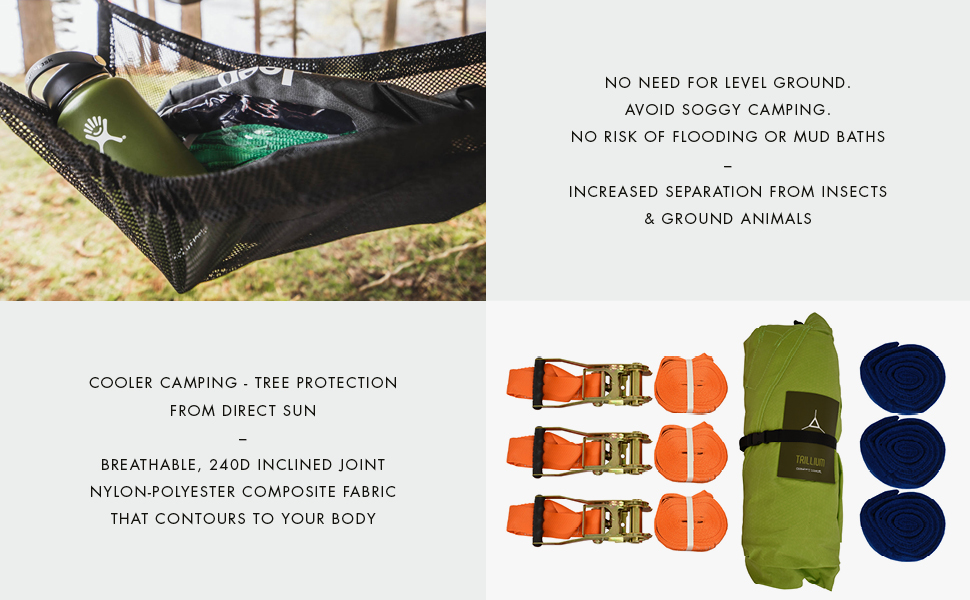 Tentsile trillium hanging tree hammock tent outdoors camping hiking flying pack giant 3 person fun